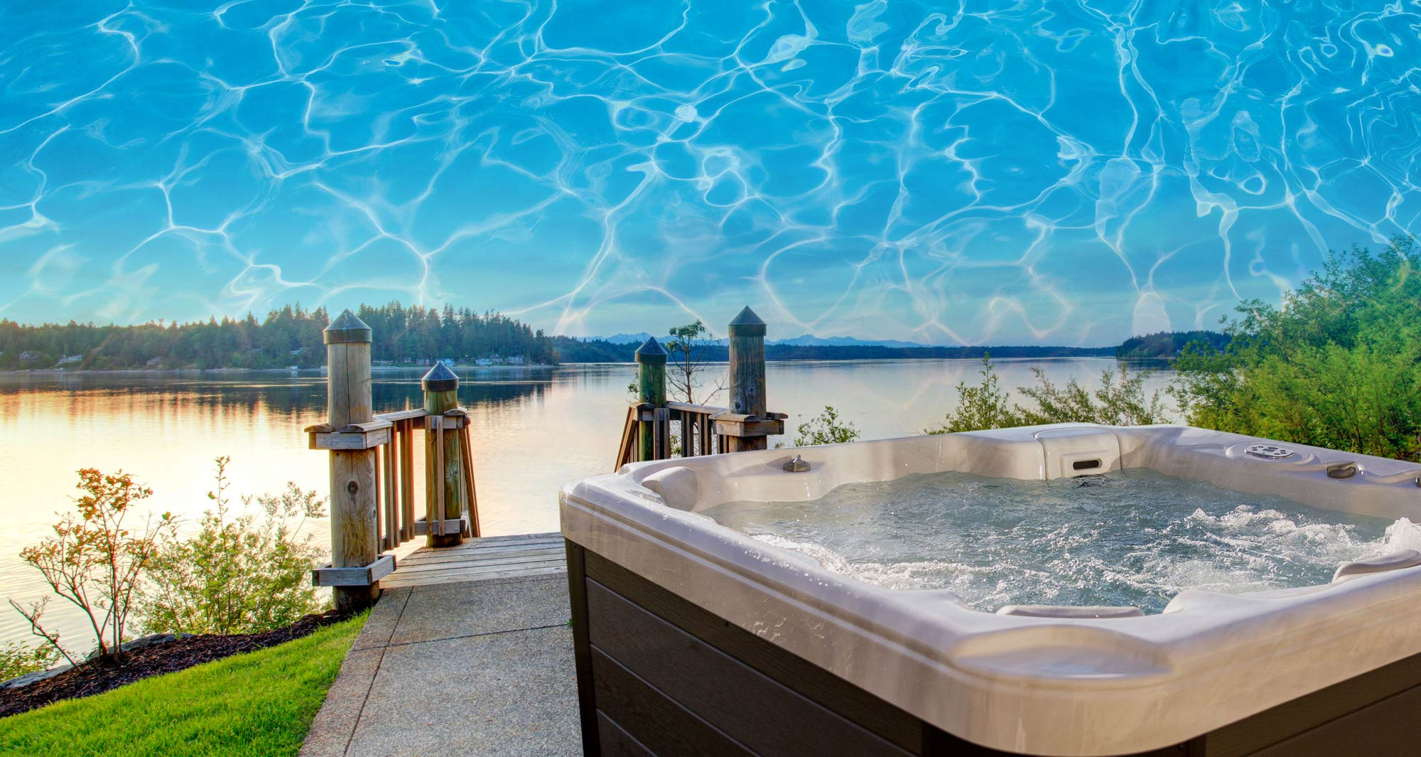 This is a photo of the hot tub overlooking a lake.