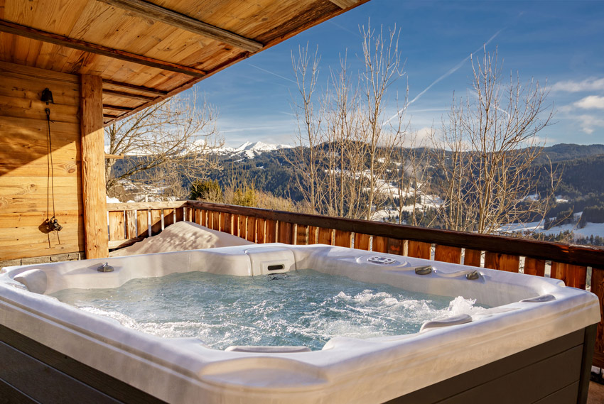 This is a photo of the spa at a ski resort overlook.