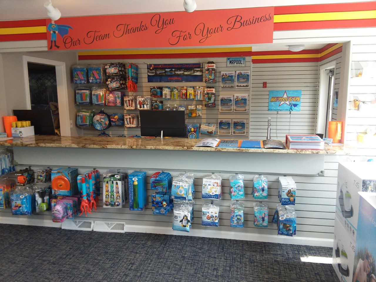 This is a photo of the Mr. Pool and Spa retail store.
